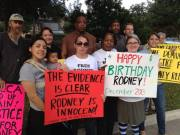 Supporters in Austin gather to wish Rodney a happy birthday in 2013