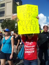 Teri Adams shows her support for Rodney at the Annual March to Stop Executions in Austin, Texas