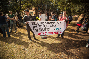 Supporters at #BlackLivesMatter march at UT Austin, Jan. 2015. Photo by Jeff Zavala, Austin Indymedia