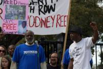 "Exonerated death row prisoner Shujaa Graham, member of Witness to Innocence, speaks about his time spent wrongly incarcerated on California's death row. Rodrick Reed, Rodney's brother, is on the right. From the ""Rally For Justice for Rodney Reed"" on Feb. 21, 2015. Photo by Karen Dominguez"