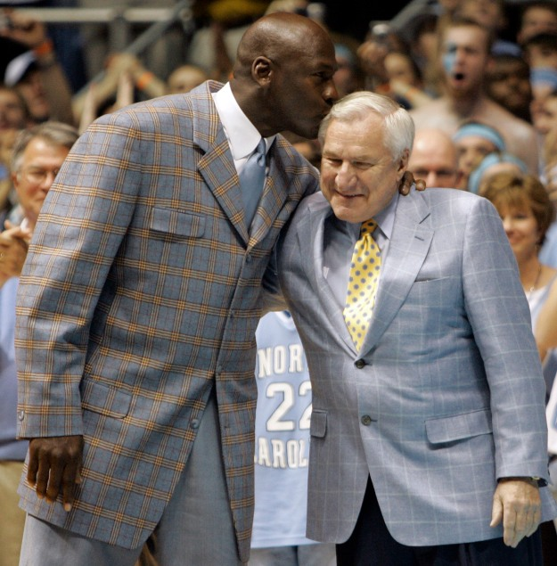 Micheal Jordan and Coach Dean Smith. Photo courtesy of StarNewsOnline