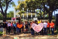 Supporters delivered valentines to Gov. Greg Abbott on Feb. 14