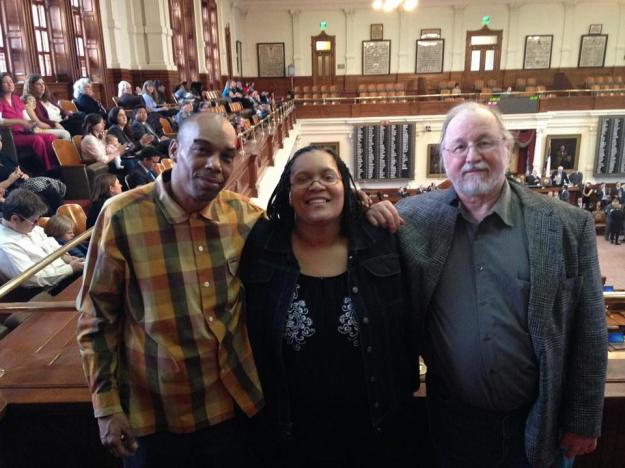 Mark Clements, Sabrina Butler, and Ron Keine stand in the House Chamber inside the Texas Capitol  Photo by Scott Cobb