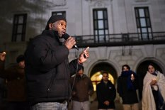Rodrick Reed, Rodney's brother, speaks to a group of University of Texas students gathered outside the UT tower. The students spent the night on the Main Mall to bring awareness to Rodney's case. Photo by Carlo Nasisse for the Daily Texan