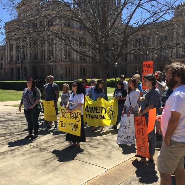 A group of supporters gather outside the Court of Criminal Appeals in the Texas Capitol Complex to demand justice for Rodney