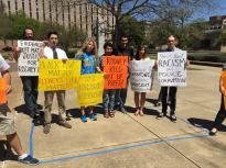 Outside the Court of Criminal Appeals, University of Texas students stand inside a 6' x 10' area representing the size of cells on Texas death row