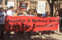 Supporters march for Rodney Reed outside the Texas Capitol, October 19, 2019. Photo by Heidi Sloan