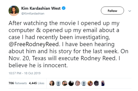 Kim Kardashian West tweets in support of Rodney