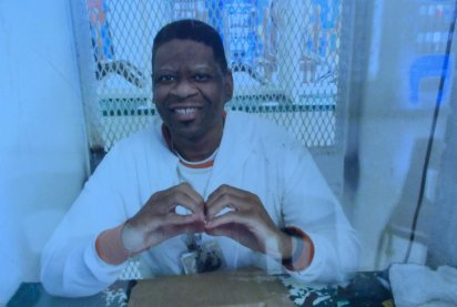 "Rodney inside a visitation cell on Texas death row. Photo by ""Rodney Reed is Innocent"" Facebook"