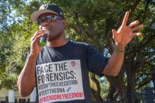 Rodrick Reed out the Governor's Mansion. Photo by Texas Moratorium Network