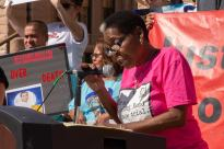 Sandra Reed speaks at the 20th Annual March to Abolish the Death Penalty. Photo by Texas Moratorium Network.