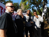 Shaun King, Austin's Mayor Steve Adler, Sandra Reed, and Lee Merritt. Nov. 9, 2019